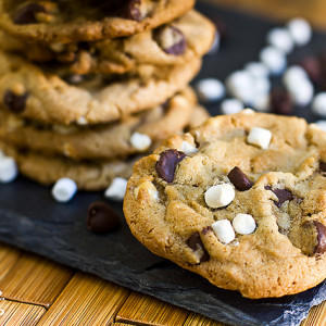 brown butter cinnamon s'mores cookies