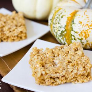 brown butter pumpkin krispies treats