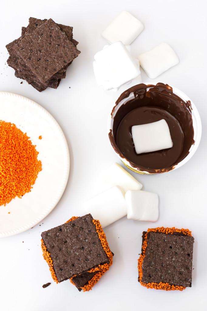Halloween Chocolate S'mores Cookies
