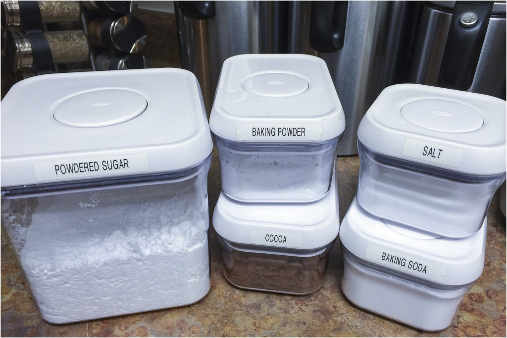the clear containers also make it easy to take a quick inventory of staple ingredients when building my weekly grocery lists for added we use
